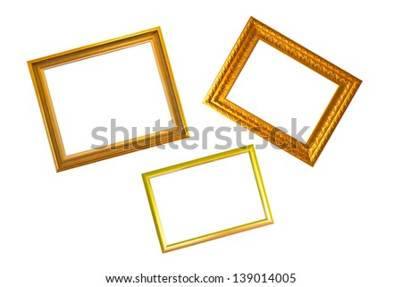 Three gold frame on white background - stock photo