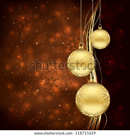 Three golden Christmas balls on brown background, illustration.