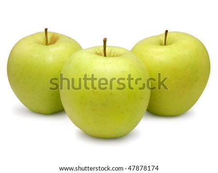 Three Golden delicious apples. - stock photo