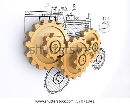 three golden gears against a background of engineering drawings with shadow - stock photo