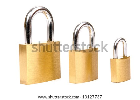 Three golden padlocks in different size over white background