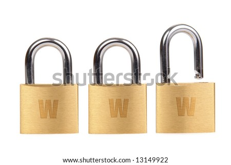 Three golden padlocks - two locked and one unlocked - forming www word over white background - internet security concept
