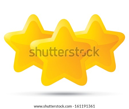 Three golden stars. Star icons on white background. Five-pointed shiny star for rating. Rounded corners. - stock photo