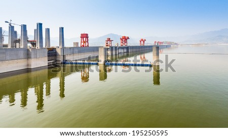 Three Gorges Dam, Lakeside View, on a Hazy Morning - Sandouping, Yichang, China - stock photo