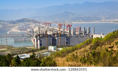 Three Gorges Dam - Sandouping, Yichang, China - stock photo