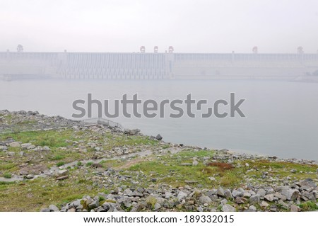 Three Gorges Dam Yichang city China - stock photo