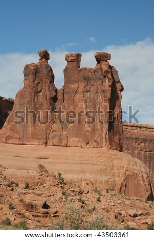 Three Gossips at Arches National Park - stock photo