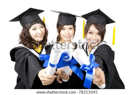 three graduation asian girls holding their diploma - stock photo