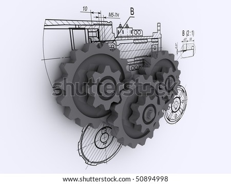 three gray metallic gears against a background of engineering drawings with shadow - stock photo