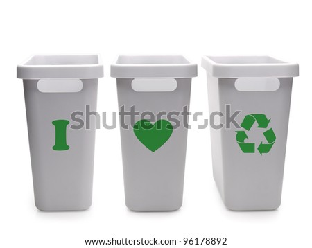 Three gray plastic disposal containers with green I Love Recycling pictogram over white background - stock photo