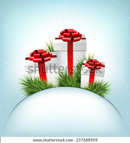 Three grayscale gift boxes with red bows, pine branches and blank frame in snowfall on blue background - stock photo