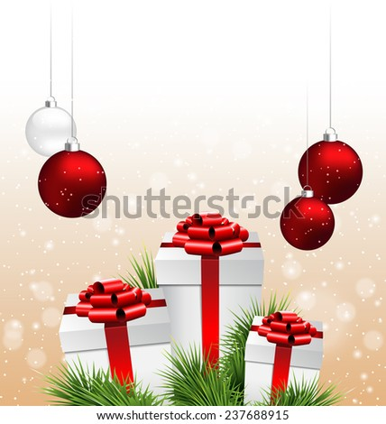 Three grayscale gift boxes with red bows, pine branches and Christmas balls in snowfall on beige background - stock photo