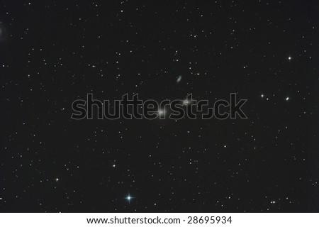 Three great galaxies in Leo - stock photo