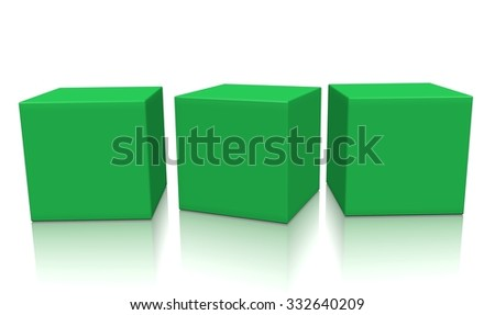 Three green aligned 3d blank concept boxes with shadows isolated on white background. Rendered illustration. - stock photo