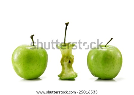 three green apple isolated on white