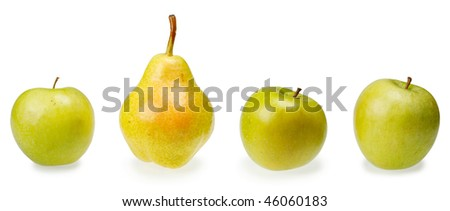 Three green apples and pear isolated on white background