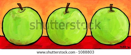 Three green apples, illustration painting - stock photo
