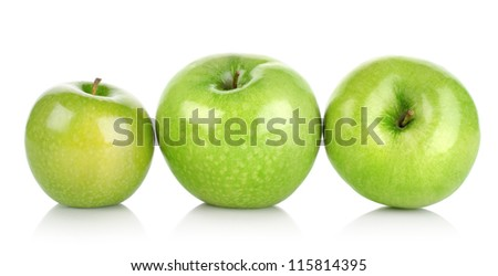 Three green apples isolated on a white background - stock photo