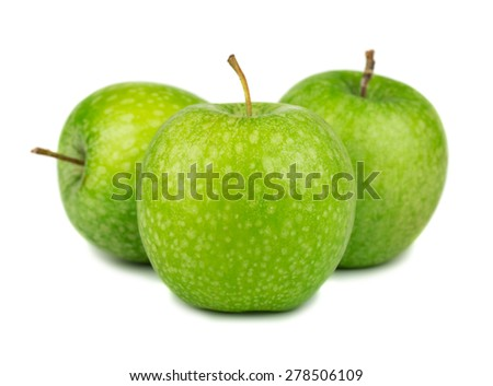 Three green apples isolated on white background - stock photo