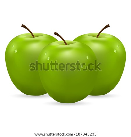 three green apples with water drops on white background - stock photo