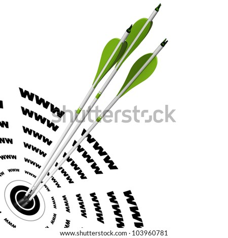 three green arrows hitting the center of a target where it is written www, symbol of good search engine optimization - stock photo