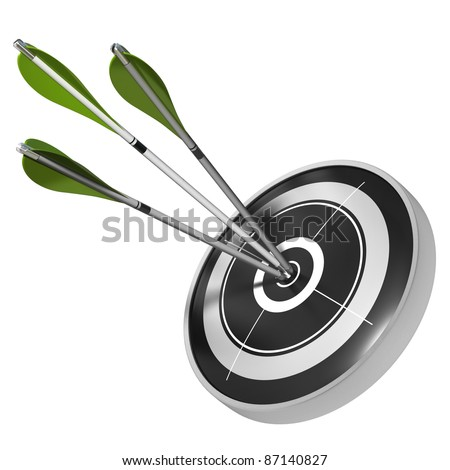three green arrows hitting the center of the same black target, 3d render image over white background - stock photo
