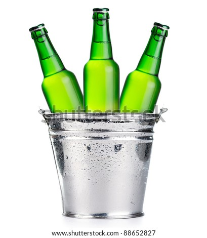 Three green beer bottles - stock photo