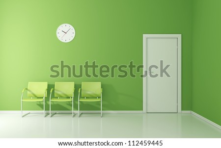 Three green chairs and wall clock in the waiting room - stock photo