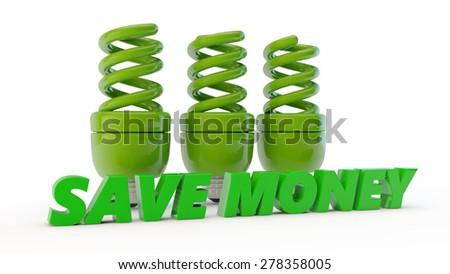 three green economic lamps and inscription save money - stock photo