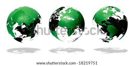 three green globe earth on white - stock photo
