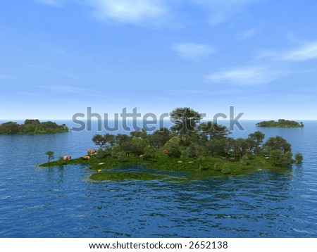 Three green islands with trees - 3d illustration. - stock photo