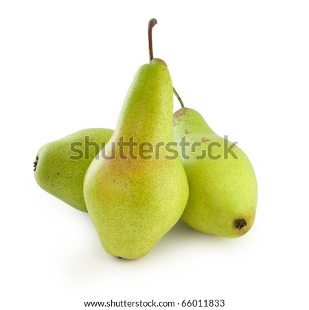 Three green pears isolated on white