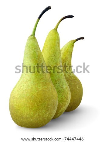 Three green pears isolated on white - stock photo