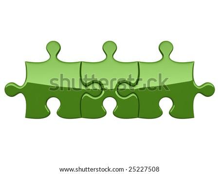 Three green puzzles on white background symbolizing association - stock photo
