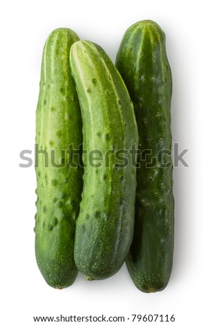 Three greenhouse cucumbers. Isolated on white. - stock photo