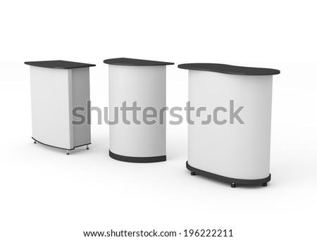 Three grey booths or tribunes on white background. render - stock photo