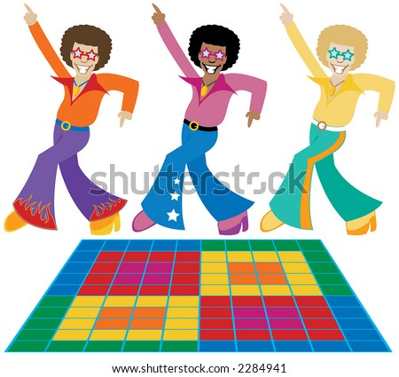 Three groovy disco dudes strutting their stuff in the hottest 70's threads - also includes a disco dance floor - stock photo