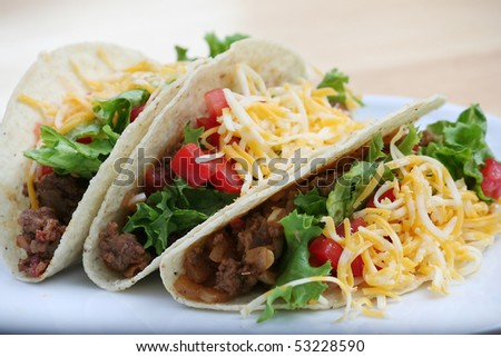 Three Ground Beef Tacos on a White Plate - stock photo