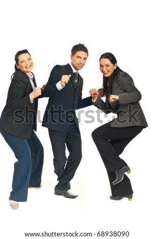 Three group of business people dancing and celebrate their success in business isolated on white background