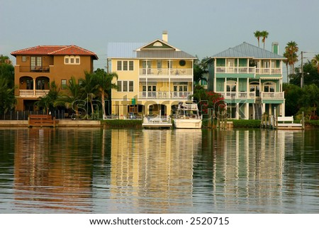Three Gulf Coast Homes on the Intercoastal  Waterway. - stock photo