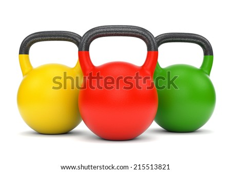 Three gym weight kettle bells isolated on white background - stock photo