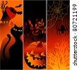 Three Halloween banners - stock photo
