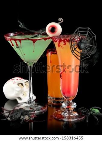 Three Halloween cocktails - stock photo