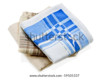 three handkerchiefs on a white background - stock photo