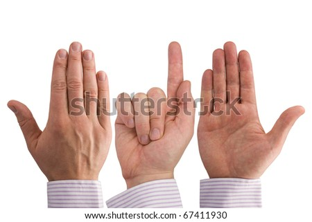 three hands expressing  different symbols.Isolated on white - stock photo