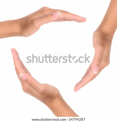 Three hands isolated on white background - copy space
