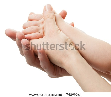 Three hands of the family on white background. Unity, support, protection and happiness