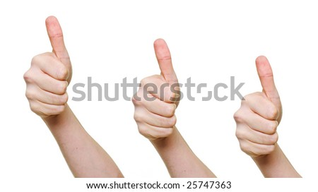 three hands with thumbs up isolated over white background