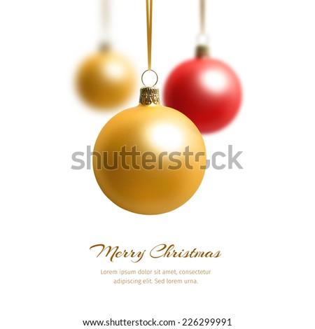 Three hanging christmas balls. Concept for christmas greeting - stock photo