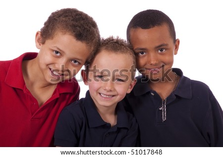Three happy African American children. - stock photo